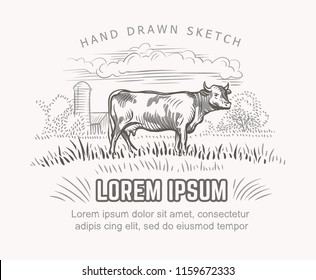 Vector illustration of cow and farmland on background. Vector. Text outlined and only for preview.
