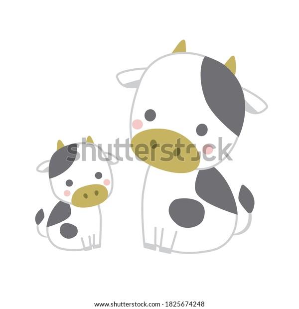 ベクターイラスト |牛の親と子