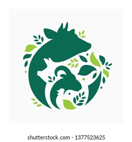 Vector illustration with cow, pig, goat and chicken.  Livestock pattern with farm animals and leaves. Green logo for agricultural company