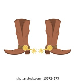 Vector illustration of cowboy boots with spoor isolated on white