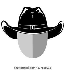 Vector illustration cowboy head silhouette in hat.