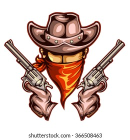 Vector Illustration Of Cowboy Holding Gun