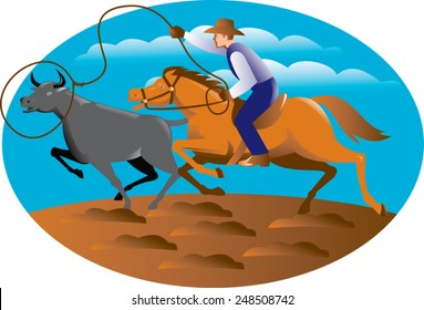 Vector illustration of a cowboy riding horse lasso roping a bull cow.
