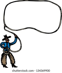 Vector illustration of Cowboy with Rope Lasso