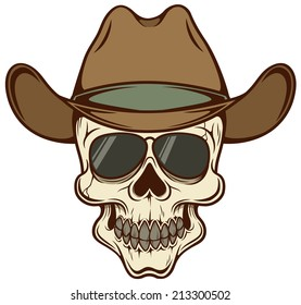 Vector illustration of Cowboy skull