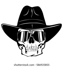 59819f035397e Vector illustration cowboy skull with sunglasses in hat