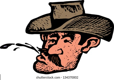 Vector illustration of Cowboy Spitting Chewing Tobacco Juice