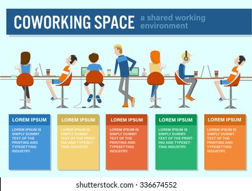 vector illustration of coworking center concept, people talking , meeting in coffee shop, working together, colorful infographic template