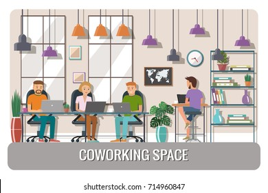 the creative office. Beautiful Creative Vector Illustration Of Coworking Space Working Place Office People  Working In The Creative In The Creative Office