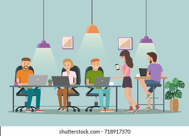 Vector illustration of coworking space. Working place, office. People working in the  office. Flat design.