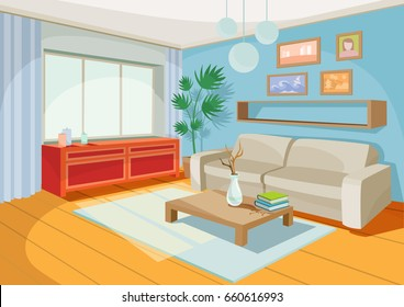 Vector Illustration Of A Cozy Cartoon Interior Of A Home Room, A Living  Room With