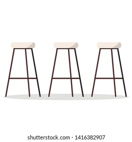 Vector illustration of cozy and comfortable wooden metal high bar or kitchen chairs with padded seat and footrest isolated on white background. Flat style furniture element for modern interior design.