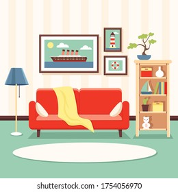 Vector illustration of a cozy living room in sea style. Interior in marine theme with bright red sofa, standart lamp, paintings on the wall with the image of a ship. For design, web, graphic.