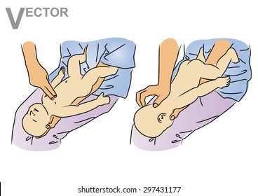 Vector illustration - CPR for baby or infant, first aid measures kid, basic help.