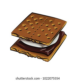 A vector illustration of cracker sandwich with marshmallow and melted chocolate, isolated on a white background