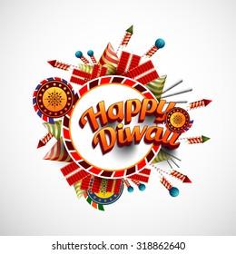 Vector Illustration of crackers, fireworks for Diwali festival