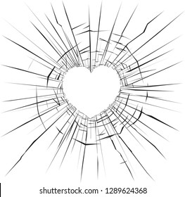 Vector illustration of cracks on broken glass heart