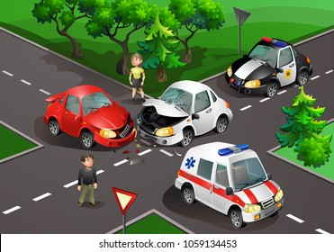 Vector illustration. Crash at the crossroads. Car accident.