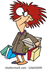 Vector illustration of crazy woman with bunch of shopping bags