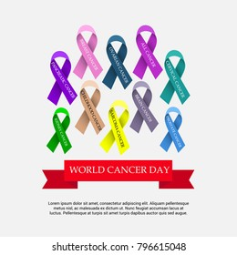 Vector illustration of a Creative Abstract Background for World Cancer Day Awareness with Ribbon.