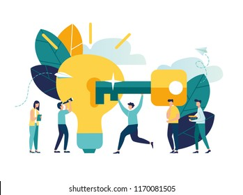 Vector illustration, creative concept idea key to success, light bulb energy and symbol, search for new creative thoughts