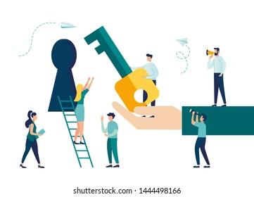 Vector illustration, creative concept idea key to success, teamwork