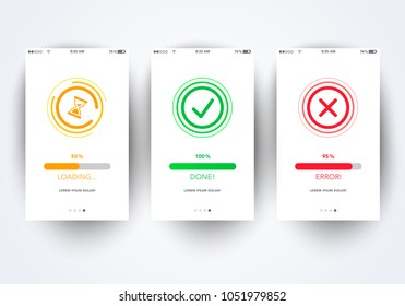 Vector Illustration creative flat line style icon for success, error info message page, Interface UX, UI GUI screen template for smart phone or web site banner