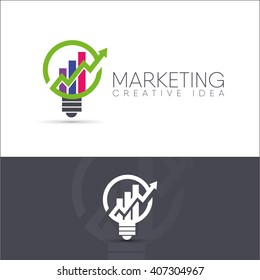 vector illustration of a creative idea for a business of statistics and marketing. logo abstract light bulb with chart and green arrow at the top