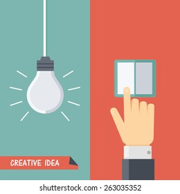 Vector illustration of creative idea. Hanging lightbulb or lamp, hand touches the switch. Flat style
