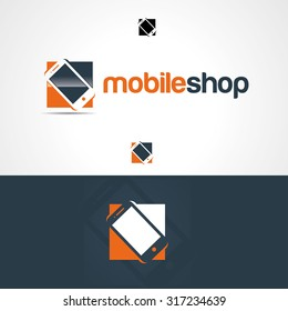vector illustration creative idea for an online store selling phones, or design firm icon to repair or service smartphones