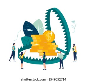 Vector illustration, creative metaphor on the theme of money traps, a trap as a symbol of financial illiteracy of people and the pursuit of easy money.