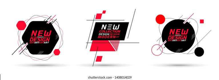 vector illustration creative modern frames. stylish graphics with elements of typography red abstract shape. element for design business cards, invitations, gift cards, flyers and brochures