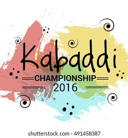 Vector illustration of Creative poster or Banner design with colorful background for kabaddi championship League concept.