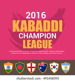 Vector illustration of Creative poster or Banner design for kabaddi championship League concept with Multiple Flags.