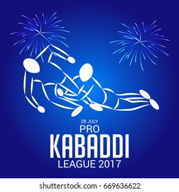 Vector illustration of Creative poster or Banner design with colorful background for kabaddi  League concept.