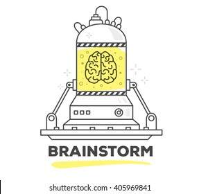 Vector illustration of creative professional mechanism of brainstorm with text on white background.Draw flat thin line art style monochrome design with yellow color.Modern concept to start brainstorm