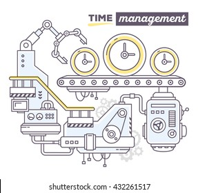 Vector illustration of creative professional mechanism to produce clock on the conveyor belt, text time management on white background. Draw flat thin line art style design of business time management