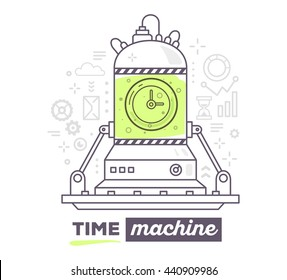 Vector illustration of creative professional mechanism of time machine with gray icon, text time machine on white background. Draw flat thin line art style design for business time machine, management
