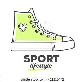 Vector illustration of creative sport sneakers shoe with text on white background.Sport life style concept.Hand draw flat thin line art style monochrome design of footwear  green color for sport theme