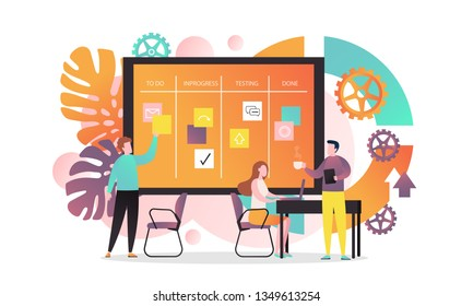 Vector illustration of creative team developing software using agile kanban methodology with cards they move on board from start to finish the process. Agile concept for web banner, website page etc.