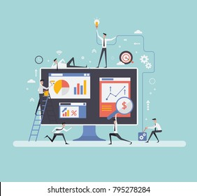 Vector illustration. Creative teamwork. People are building a business project on the Internet. The monitor screen is a building site. Collective performance of tasks.