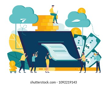 vector illustration, illustration of credit approval or contract conclusion online, quick money transfer, financial services