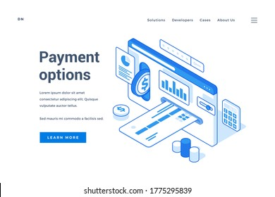 Vector illustration of credit card and coin inserted in website page near charts and description with link button on banner. Isometric web banner, landing page template