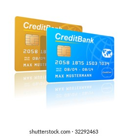 Vector illustration of credit cards. You can use these cards separately for your designs.