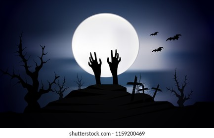 Vector illustration of creepy cemetery on white moon background with castle and pumpkin on Halloween night.