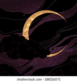 Vector illustration of a crescent moon in oriental style