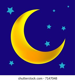 a vector, illustration for a crescent moon with stars in night