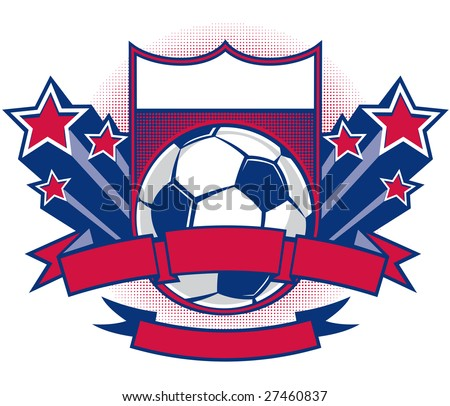 Vector Illustration Of A Crest With Soccer Ball Blank Banners And 3D Shooting Stars