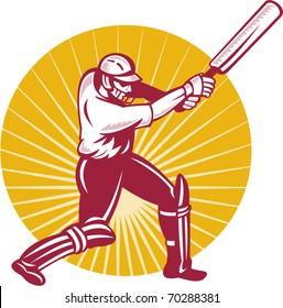 vector illustration of a cricket batsman batting side view woodcut style