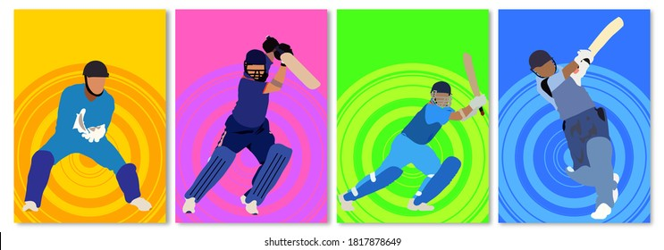 Vector illustration of Cricket Championship banners or posters, design with players, batsman and wicket keeper. Set of 4.